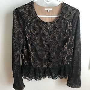 Mystree LARGE fill zip blk lace lined cardigan
